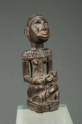"""African Art Congo Seated Maternity with Child, 5 1/2"""""""