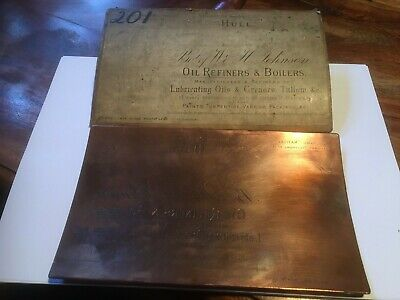 Antique Copper Printing Plate-Johnson's Hull,National Oil Works,Vintage Adverts.