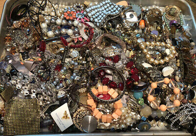 UNTESTED Junk CRAFT Box Jewelry Vintage Modern Huge Lot Pieces Parts Full Pounds