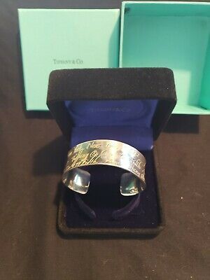 Tiffany Sterling silver Cuff Bracelet Wide Notes Rare