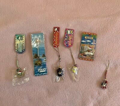 Hello Kitty Collectible  Phone Strap Charm Lot of 5
