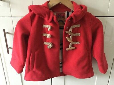 Next Girls Red Duffle Fleece Hooded Coat Age 4 Years. Excellent Condition.