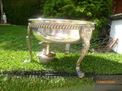 Collectable : Silver Plated Serving Dish & Stand With Lion Heads & Oil Burner