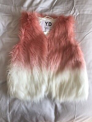 YD Girls Faux Fur Gillet Pink And White Age 11-12 Years Immaculate
