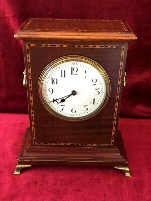 French Platform 8 Day Mahogany Inlaid Mantle Clock