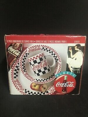 NEW Gibson 1996 COCA COLA Diner CHECKERED Coke DISHES 12PC PLACE SETTING COKE