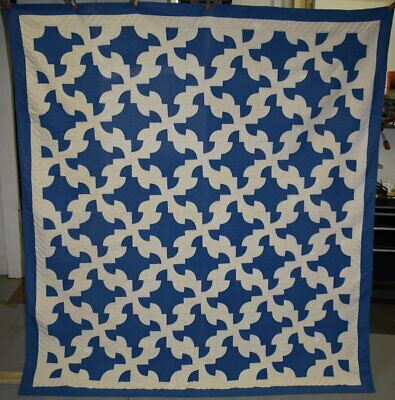 Antique Hand Quilted Cotton Quilt, Blue & White Drunkard's Path,Bordered, #18431