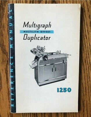 Multigraph Duplicator Multilith offset 1250 Reference Manual
