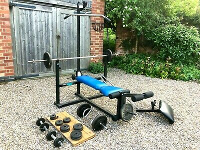 Marcy 870ip Olympic Training Bench + pulldown - bars, dumbbells, 33 iron weights