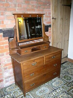 Antique chest of drawers/dressing table with bevelled mirror
