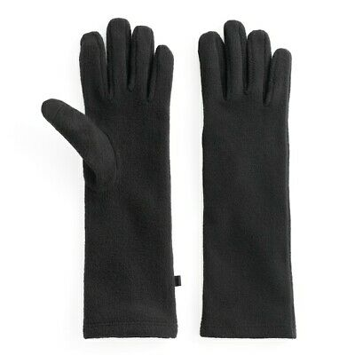 NWT Cuddl Duds Black Stretch Fleece Long Touch Screen Compatible Tech Gloves OS