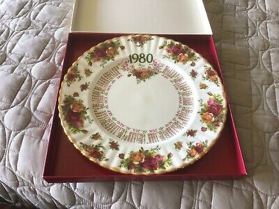 Royal Albert Old Country Rose First Edition Calendar Plate 1980