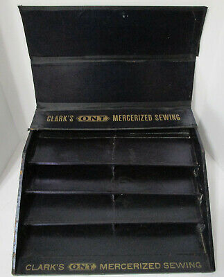 Antique 1900 Sewing Clark's ONT Mercerized Thread Display Case with Shelves