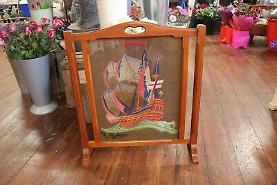 Fire Screen The Mayflower Ship Embroidery Glass Front Vintage Wood Nautical