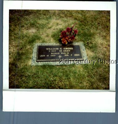 Found Color Polaroid B_3037 View Of Flowers On Gravestone In Cemetery,Cross