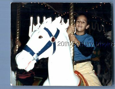 Found Color Photo B_3186 Little Boy Sitting On Carousel Horse
