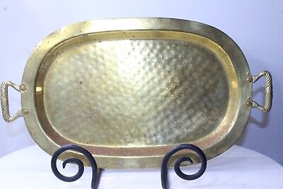 """Dimpled Brass Vintage Tray 14"""" x 7"""" Unmarked Dish"""