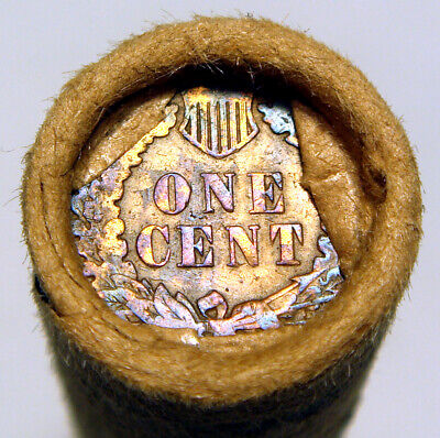 Vintage Wrap Wheat Penny Roll 1909 (S?) & Toned IH Rev. Pennies Crimped Unopened