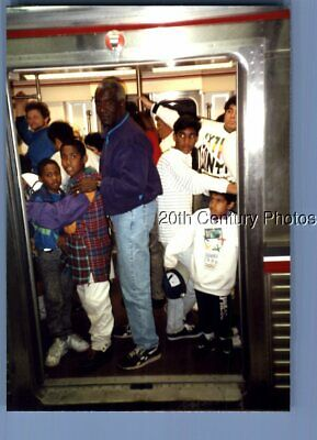 Found Color Photo B_7885 Black Man Posed On Subway Train With Kids