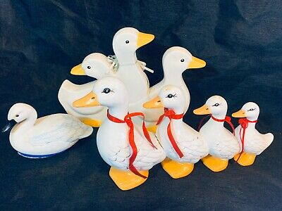 Vintage Ceramic Hobbyist Painted White Goose Figurine Statue Lot