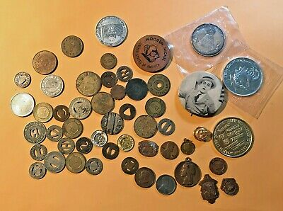 LOT 50+ Vintage Junk Drawer Lot  Coins, TOKENS, MEDALS MUCH MORE COOL  Stuff