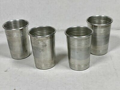 ALUMINUM SHOT GLASSES - Vintage Barware Set (4)