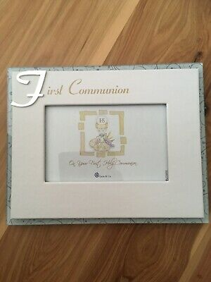 Christening Frame - Glass/ White Faux Leather - Unisex *NEW*