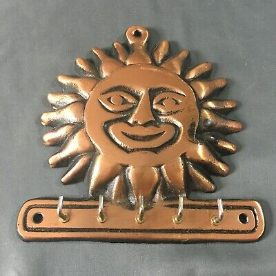 Vintage 1995 Copper colored Cast Iron Sun Face Keyholder Decor Heavy Metal