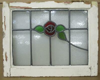 "OLD ENGLISH LEADED STAINED GLASS WINDOW Pretty Rose & sweep 20.5"" x 16.25"""