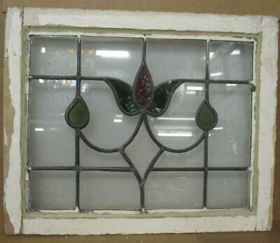 "OLD ENGLISH LEADED STAINED GLASS WINDOW Lovely Tulip Design 22.25"" x 18"""