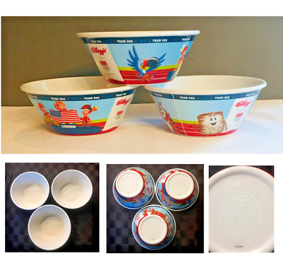 Collectable Kellogg's Cereal Bowls 2012 Team USA Olympics Set of 3 VGC