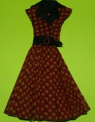 Black & Red Shirt  Dress For Barbie Vintage Doll Reproduction Repro, ooak,new