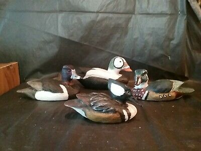 Set Of 4 Hand Carved Wood Ducks