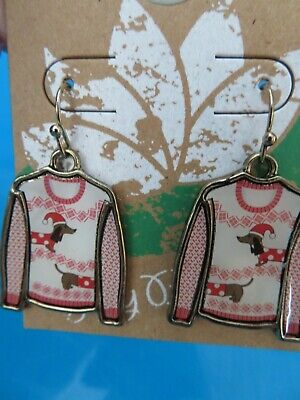 Lily Bloom Ugly Sweater Dachshund Sausage Dog Earrings - Christmas Holiday NEW