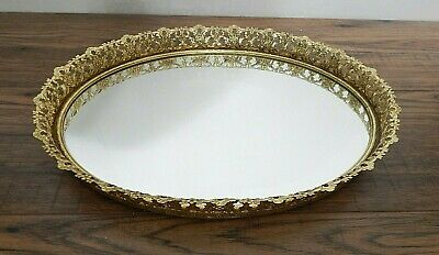 Vintage Vanity Tray Gold Mirrored for Makeup and Perfume 13.5""