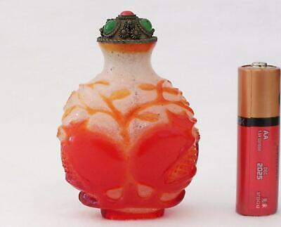 19thC Chinese Qing Carved Red Overlay Glass Snuff Bottle Peaches & Pomegranate