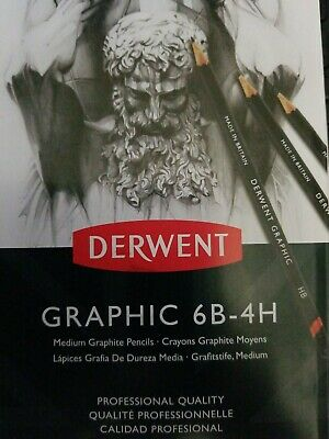 Derwent Graphic 12 Medium Graphite Pencils Tin -graphic 6B-4H unused