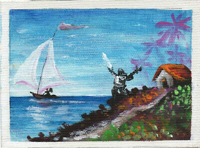 Tiny Cuban Original Art Painting Acrylic Canvas LEONARDO RUBIO BRIDON  24