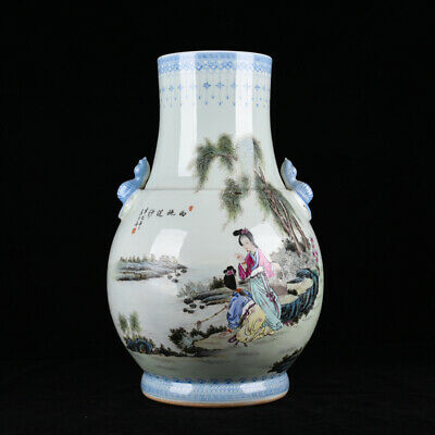 "15.7"" Marked Republic China famille rose Porcelain painting beauty poetry vase"