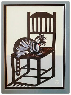 "RARE Vintage AKI SOGABE ORIGINAL Papercut Art ""Kitty On Chair"" Seattle Artist"