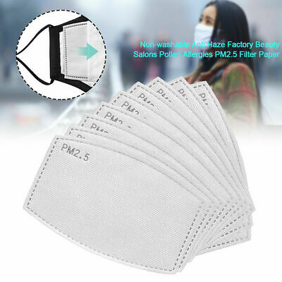 50PCS PM2.5 Face Mask Filter Paper Pad Breath Filters Adults Activated Carbon