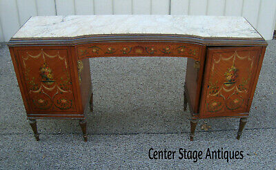 59602  Antique HAND PAINTED Marble Top Vanity Desk  QUALITY RARE FIND