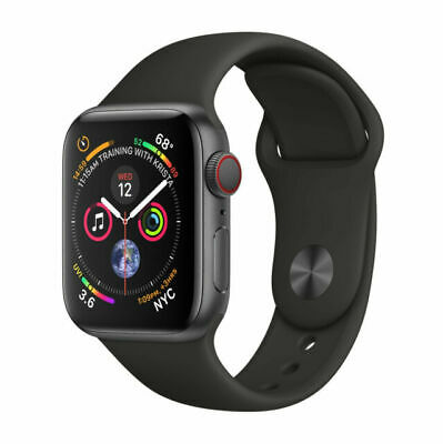 Apple Watch Series 4 (GPS + Cellular) 44mm Space Gray with Black Band MTUW2LL/A