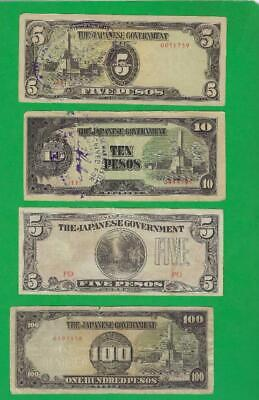 Ww2 Japan Military Money Used In Philippines ~ 4 X Paper Money Lot # 3740 (*-*)