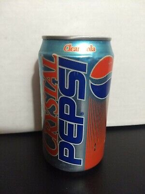 FULL Sealed Vintage 1990's Crystal Pepsi 12 oz Soda Can Collectible RARE