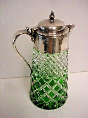 Vintage Green Cut-to-Clear Cut Glass Syrup, Silver Plate Lid - Antique