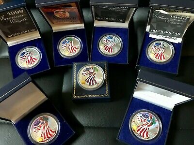 Colored American Silver Eagle Lot!! 7 COINS. 1oz Each. 3 with COA