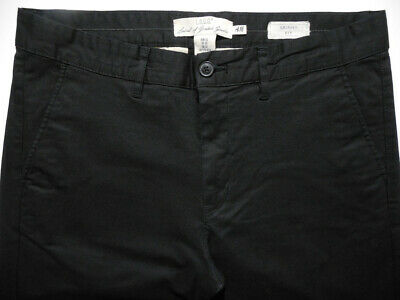 H&M L.O.G.G. Stretch Skinny Fit Black Casual Mens Pants Trousers Chinos 32 31
