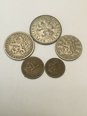 Lot Of 5 Coins Of Czechoslovakia  Some Silver 1924 -1932