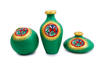 Terracotta Handpainted Set of Three Warli Vase Home Decorative showpiece